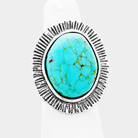 Abstract Turquoise Accented Cuff Ring