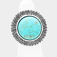 Round Turquoise Accented Cuff Ring