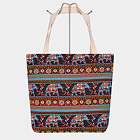 Aztec Elephant Pattern Tote Bag