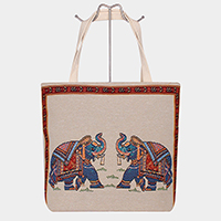 Aztec Patterned A Couple of Elephants Tote Bag