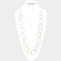 Beaded Hoop Metal Hoop Link Bib Long Necklace