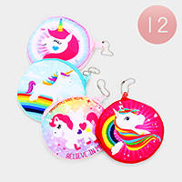 12PCS - Unicorn Print Zipper Coin Purses
