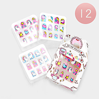 12 Set of 12 - Mixed Unicorn Heart Artificial Nail Stickers