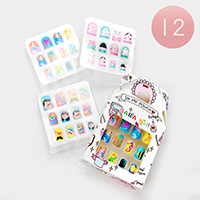 12 Set of 12 - Animal Sealife People Artificial Nail Stickers