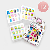 12 Set of 12 - Emoji Anchor Artificial Nail Stickers