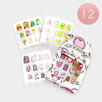 12 Set of 12 - Mixed Heart Animal Artificial Nail Stickers