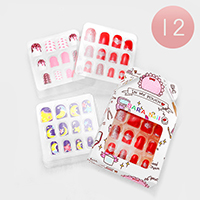 12 Set of 12 - Mixed Heart Moon Star Artificial Nail Stickers