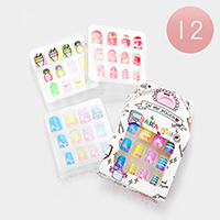 12 Set of 12 - Pineapple Cupcake Bow Artificial Nail Stickers