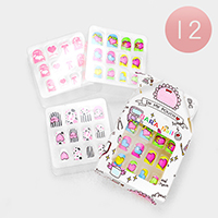 12 Set of 12 - Mixed Bow Heart Dot Artificial Nail Stickers