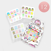 12 Set of 12 - Mixed Penguin Pineapple Artificial Nail Stickers
