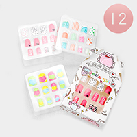 12 Set of 12 - Mixed Heart Dot Love Artificial Nail Stickers