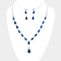 Rhinestone Trim Crystal Teardrop Cluster Necklace