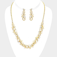 Floral Pearl Crystal Rhinestone Pave Necklace