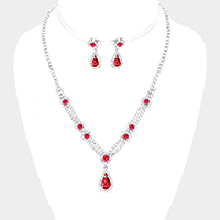 Floral Crystal Rhinestone Pave Teardrop Dangle Necklace