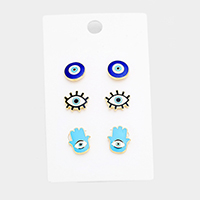 3Pairs Mixed Enamel Evil Eye Hamsa Hand Stud Earrings