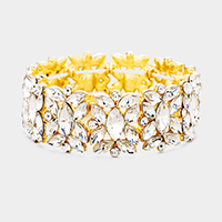 Marquise Floral Oval Crystal Cluster Stretch Evening Bracelet