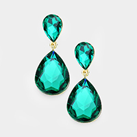Crystal Double Teardrop Evening Earrings