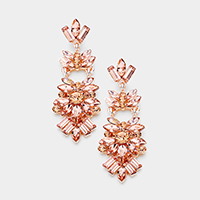 Marquise Crystal Stone Cluster Chandelier Evening Earrings