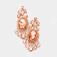 Marquise Crystal Chandelier Statement Evening Earrings