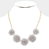 Beaded Disc Link Bib Necklace