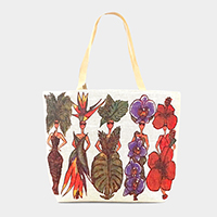 Leaf Floral Fashion People Beach Tote Bag