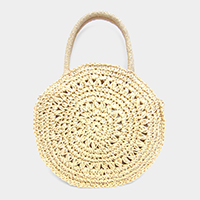 Round Crochet Tote Crossbody Bag