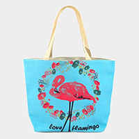 Floral Flamingo Beach Tote Bag