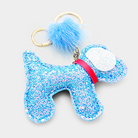 Sequin Cute Puppy Pom Pom Key Chain