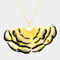 Layered Feather Fringe Pendant Long Necklace