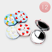 12PCS - Fruits Round Compact Mirrors