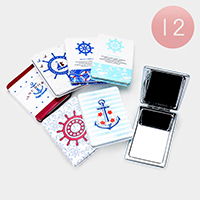 12PCS - Anchor Ship Wheel Rectangle Compact Mirrors