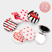 12PCS - Heart Lips Round Compact Mirrors