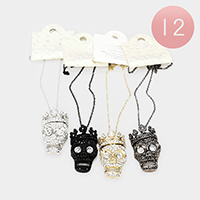 12PCS - Crystal Rhinestone Pave Crown Skull Pendant Necklaces
