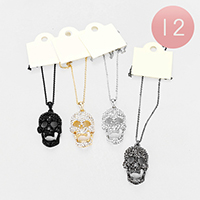 12PCS - Crystal Rhinestone Pave Skull Pendant Necklaces