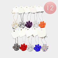 12PCS - Crystal Rhinestone Pave Paw Pendant Necklaces