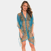 Button Detail Paisley Print V-neck  Cape Poncho