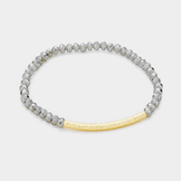 Faceted Beaded Metal Tube Accented Stretch Bracelet