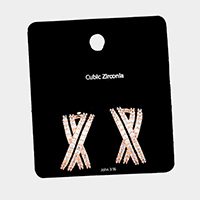Cubic Zirconia Pave Crisscross Evening Earrings