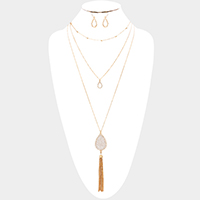 Layered Bling Teardrop Drop Chain Tassel Necklace
