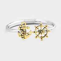 Metal Anchor Ship Wheel Hinged Cuff Bracelet