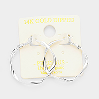 14K Gold Filled Twisted Metal Hypoallergenic Hoop Earrings