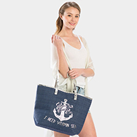 'I Need Vitamin Sea' Anchor Print Beach Tote Bag