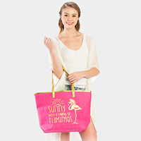 'Sunny With A Chance..' Flamingo Print Beach Tote Bag