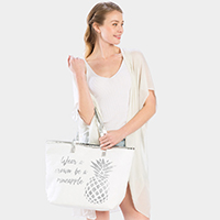 Pineapple Print Beach Tote Bag