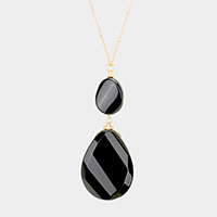 Agate Double Teardrop Long Pendant Necklace