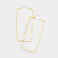 14K Gold Filled Metal Rectangle Hoop Pin Catch Earrings