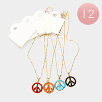12PCS - Beaded Peace Pendant Necklaces