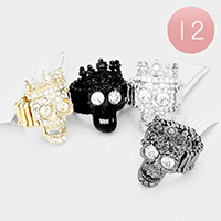 12PCS - Crystal Rhinestone Pave Crown Skull Stretch Rings