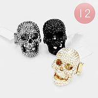 12PCS - Crystal Rhinestone Pave Skull Stretch Rings