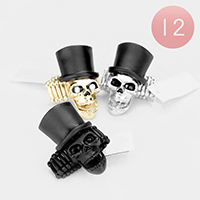 12PCS - Top Hat Metal Skull Stretch Rings